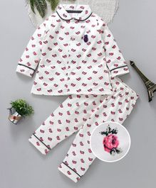ToffyHouse Full Sleeves Collared Night Suit Rose Print - White