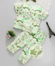 ToffyHouse Half Sleeves Night Suit Allover Print - Light Green