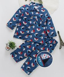 ToffyHouse Full Sleeves Night Suit Ship Print - Blue