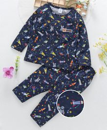 ToffyHouse Full Sleeves Night Suit Rocket Print - Navy Blue