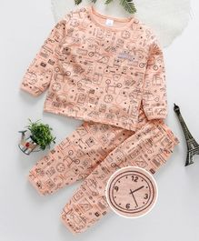 ToffyHouse Full Sleeves Night Suit Multiprint - Peach