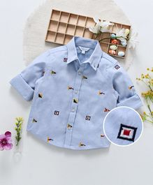 ToffyHouse Full Sleeves Shirt Flag Embroidery - Sky Blue