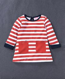 Baby Naturelle & Me Full Sleeves Striped Frock - Red