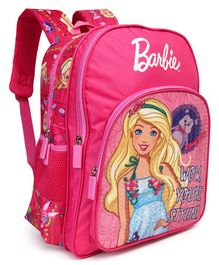 BarbieTheme School Bag Pink - Height 16 inches