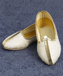 Ethniks Neu Ron Traditional Mojari Shoes - Light Golden