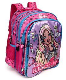 Barbie Theme Flap School Bag Pink - Height 14 inches