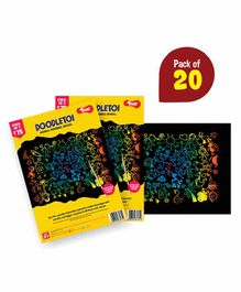 Toiing Doodletoi Magical Colourful Scratch Art Drawing Papers Pack of 20 - Multicolor