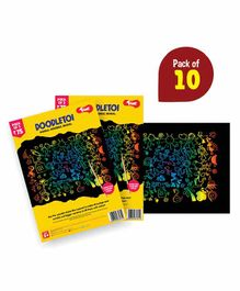 Toiing Doodletoi Colourful Scratch Art Drawing Papers - Pack of 10