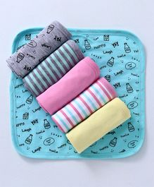 Babyoye Knitted Burp Cloths Printed Pack of 6 - Multicolour