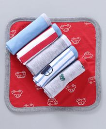 Babyoye Knit Wash Cloths Cars Print Pack of 6 - Red Grey Blue