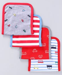 Babyoye Knitted Burp Cloths Cars Print Pack of 4 - Red Grey