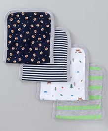 Babyoye Knitted Burp Cloths Striped Pack of 4 - Navy