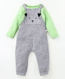 Babyoye Solid Dungaree With Full Sleeves Tee Bear Face Print - Grey & Light Green