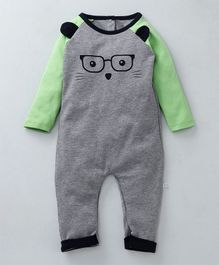 Babyoye Raglan Sleeves Romper Fox Design - Grey Green