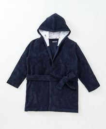 Babyoye Full Sleeves Hooded Bath Robe - Navy
