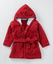 Babyoye Full Sleeves Hooded Bath Robe - Red
