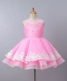 Babyoye Party Wear Sleeveless Pleated Frock Bead Detailing - Pink