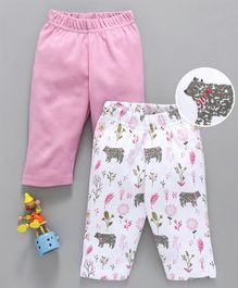 Babyhug Cotton Full Length Printed & Solid Color Lounge Pant Pack of 2 - Pink White
