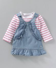 Babyoye Denim Frock With Full Sleeves Striped Tee - Blue White & Pink
