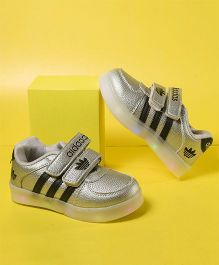 Little Maira Designer Double Velcro Shoes - Grey