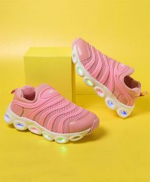 Little Maira Slip On Style Led Sports Shoes - Pink
