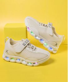 Little Maira Velcro Closure Led Shoes - Off White