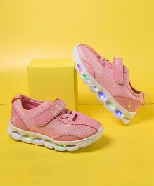 Little Maira Velcro Closure Led Shoes - Pink