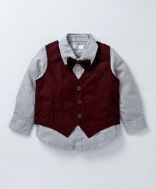Babyoye Party Wear Shirt With Bow & Waistcoat - Grey Maroon