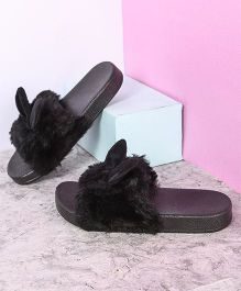 Kidlingss Bunny Fur Slippers - Black