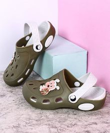 Kidlingss Clogs With Back Strap Ball Applique - Olive Green