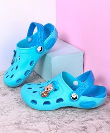 Kidlingss Clogs With Back Strap Ball Applique - Blue
