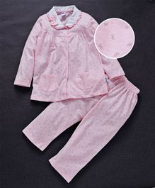 Teddy Full Sleeves Night Suit Bow Applique - Pink