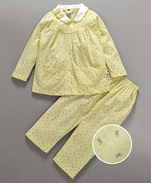 Teddy Full Sleeves Night Suit Bow Applique - Light Yellow