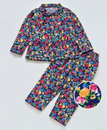 Teddy Peter Pan Collar Neck Floral Night Suit - Blue Multicolour