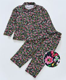 Teddy Peter Pan Collar Neck Night Suit Floral Print - Black Multicolour