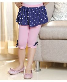 D'Chica Skinny Capri With Polka Dot Skirt - Pink