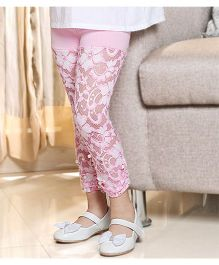 D'Chica Skinny Floral Legging With Beads - Pink