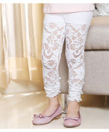 D'Chica Skinny Floral Legging With Beads - White