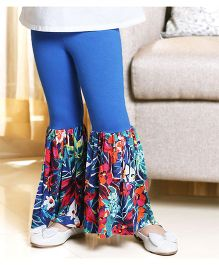 D'Chica Flower Print Frilled Leggings - Blue