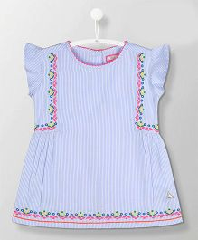 Cherry Crumble California Flutter Sleeves Striped Top Embroidered Design - Blue