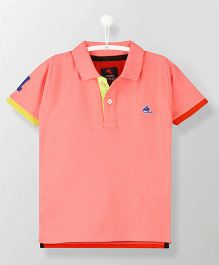 Cherry Crumble California Unique Polo Tee - Pink & Red