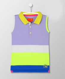 Cherry Crumble California Sleeveless Stripe Polo Tee - Multicolor