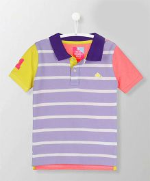 Cherry Crumble California Natural Stripes Polo Tee - Purple