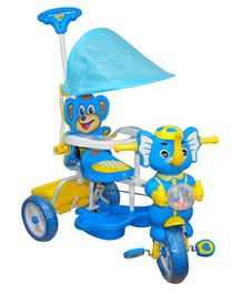 Funride Tiscon Elephant Design Tricycle With Canopy - Blue