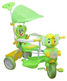 Funride Tiscon Elephant Design Tricycle With Canopy - Green