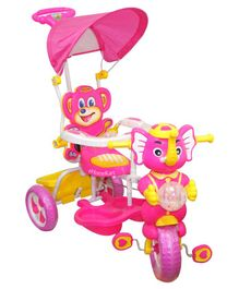 Funride Tiscon Elephant Design Tricycle With Canopy - Pink