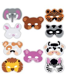 Party Propz Jungle Animal Theme Eyemasks Multicolour - Pack of 10
