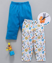 Babyhug Cotton Full Length Printed & Solid Color Lounge Pant Pack of 2 - Blue White