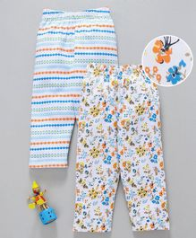 Babyhug Full Length Cotton Lounge Pants Abstract & Floral Print Pack of 2 - Blue Yellow