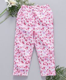 Babyhug Full Length Cotton Leggings Floral Print - White Pink